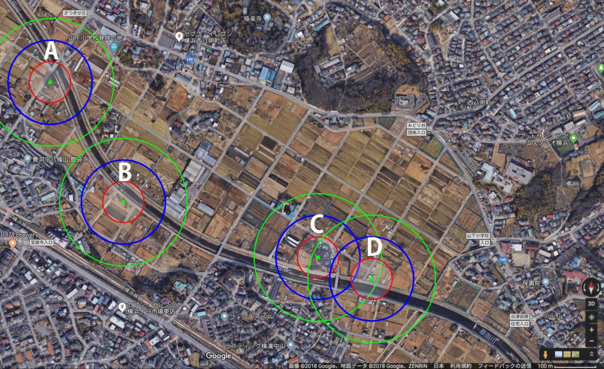 モズ高鳴きマップ2018年9月23日作成※このベースとなる画像と地図のデータの著作権は画像の右下に表示されている通りです。
